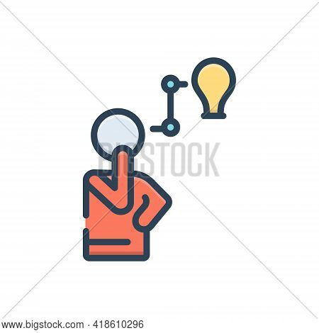 Color Illustration Icon For Think Peruse Consider Ponder Mull