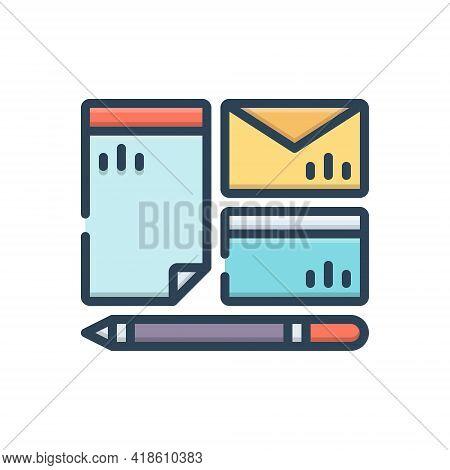 Color Illustration Icon For Branding Mockup Identity Pen Brand Design