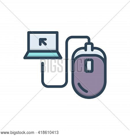 Color Illustration Icon For Control Command Monitoring Curb Mouse Device