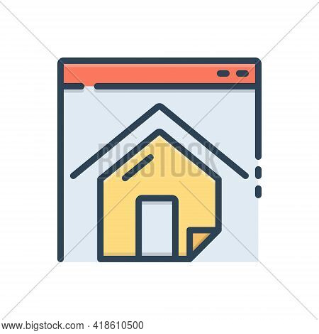 Color Illustration Icon For Homepage  Website Residence Mortgage  Landing  Page Home