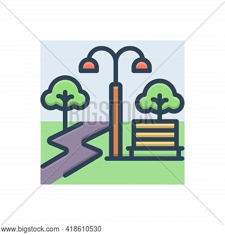 Color Illustration Icon For Park Garden Belvedere Garth Plantation