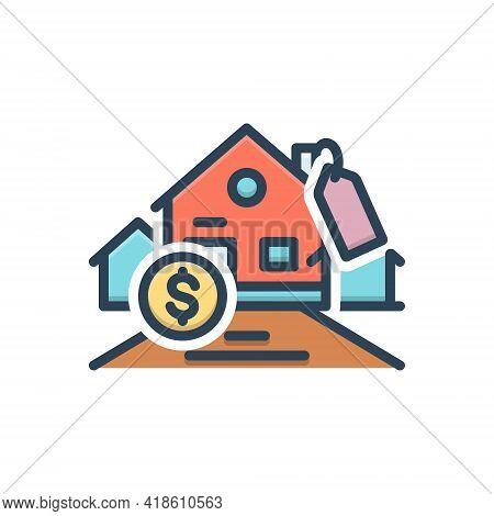 Color Illustration Icon For Affordability Affordable Mortgage Expensive Cash