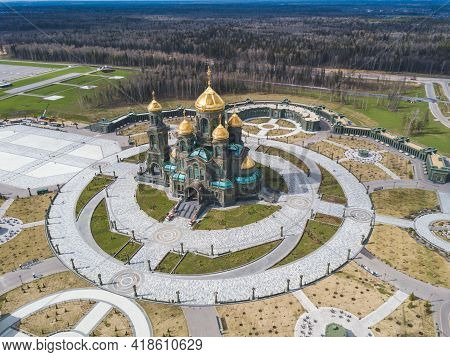 Kubinka, Moscow Region, Russia - April 28, 2021: Main Church Of The Russian Armed Forces And Park Pa