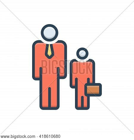 Color Illustration Icon For Ancillary Helper Subsidiary Auxiliary Accessory Junior Assistance