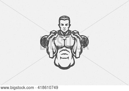 Muscular Sportsman With Kettlebells Silhouette Hand Drawn Stamp Vector Illustration.