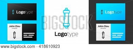 Blue Line Shock Absorber Icon Isolated On White Background. Logo Design Template Element. Vector