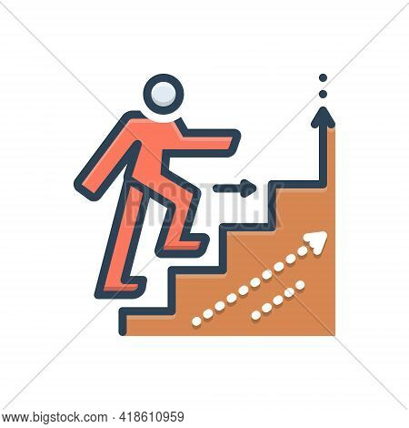 Color Illustration Icon For Advancing Promotion Outdo Slog Outrun Increase Growth Enhancement Augmen