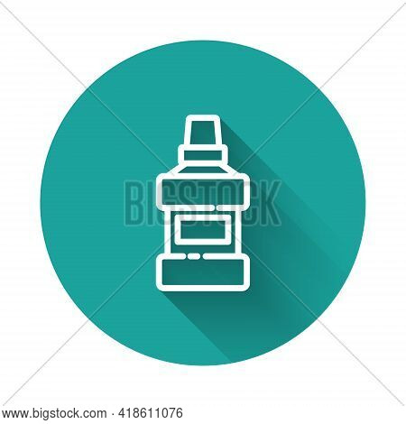 White Line Mouthwash Plastic Bottle And Glass Icon Isolated With Long Shadow. Liquid For Rinsing Mou