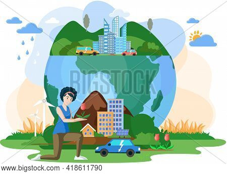 Eco Save Environment Pictures. Ecological Ecosystem And Pollution. People Taking Care Of Planet Coll