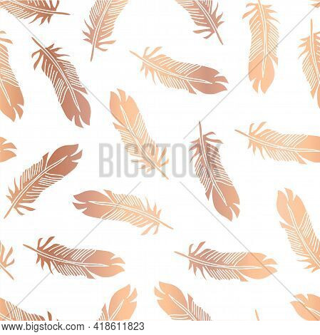 Copper Foil Feathers Seamless Vector Pattern. Repeating Background Metallic Rose Gold Feather Illust