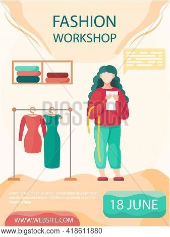 Woman Planning Model Of Future Garment Vector Illustration. Seamstress Works In Professional Tailori