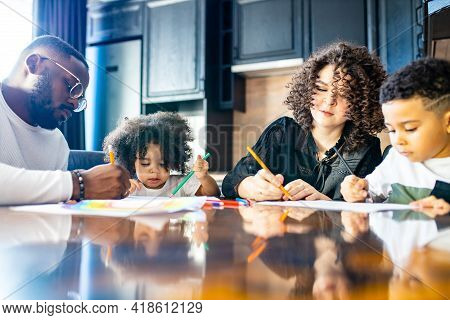 Brazilian Latin Authentic Mixedrace Family Elementary Learn To Paint And To Write