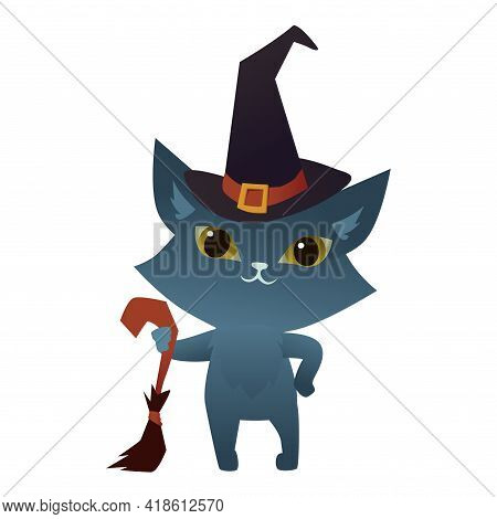 Witch Cat On A White Background Wearing A Wizard Hat And Holding A Brum