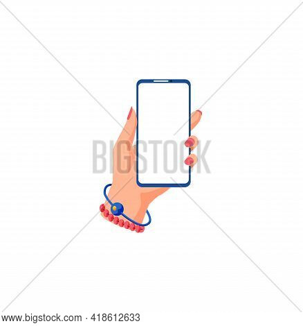 Female Hand Holding Smartphone And Touching Screen. Flat Illustration Phone With Blank Screen. Smart