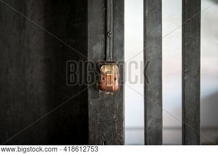 The Old Light Switch On Wooden Pole
