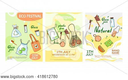 Set Of Illustrations About Eco Festival Concept Poster. Daily Goods, Natural Elements, Bath Tools. Z