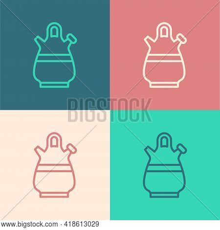 Pop Art Line Sangria Pitcher Icon Isolated On Color Background. Traditional Spanish Drink. Vector