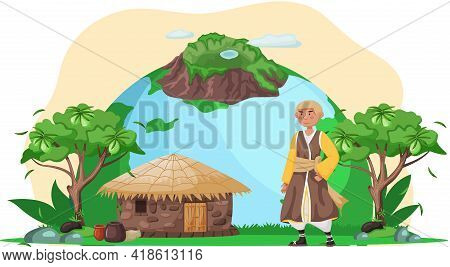 Save Our Planet Concept. Nature And Ecology Modern Graphic Design Poster. Man In Traditional Costume