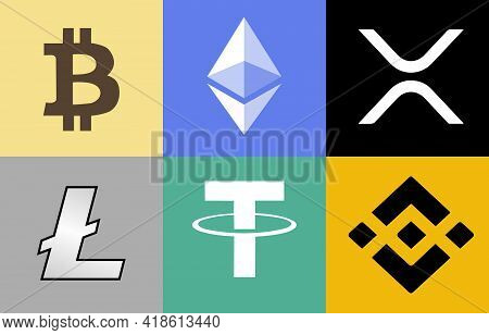 April 27' 2021. Bangkok Thailand. The Symbol And Icon For Digital Technology Cryptocurrency.