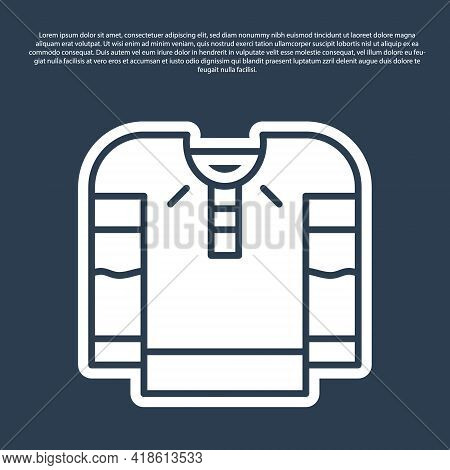 Blue Line Embroidered Shirt Icon Isolated On Blue Background. National Ukrainian Clothing. Vector