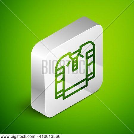 Isometric Line Embroidered Shirt Icon Isolated On Green Background. National Ukrainian Clothing. Sil