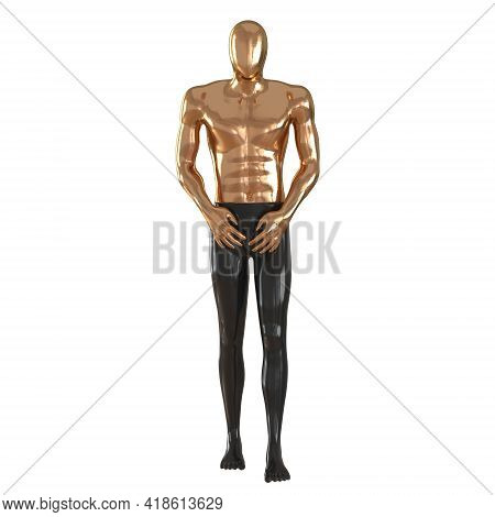 Male Abstract Mannequin Golden Top And Black Bottom In The Pose Of A Walking Man On A White Backgrou