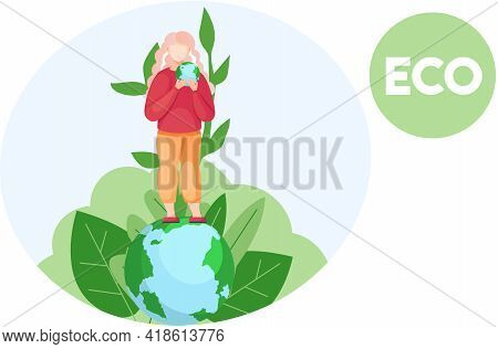 Save Our Planet Concept. Nature And Ecology Modern Graphic Design Poster. Girl Standing On Planet Wi