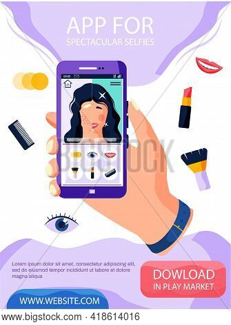 Woman Making And Editing Selfie. Girl Taking Self Photo Face Portrait On Smartphone. Phone Camera Ad