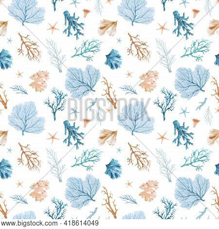 Beautiful Vector Seamless Underwater Pattern With Watercolor Sea Life Colorful Corals. Stock Illustr
