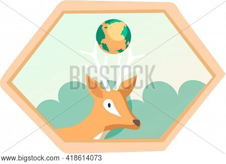 Eco Friendly, Nature Conservation, Environmental Protection. Deer On Framed Illustration With Trees
