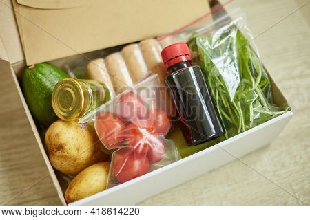 Food Box Meal Kit Of Fresh Ingredients And Recipe Blank Order From A Meal Kit Company