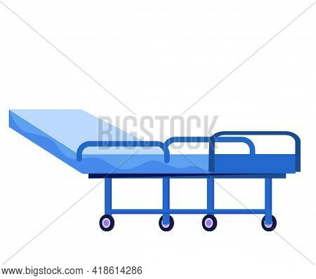 Bed With Wheels Isolated On White Background. Ward In Clinic Interior Design Element. Bed For Patien