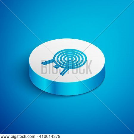 Isometric Line Target Icon Isolated On Blue Background. Dart Board Sign. Archery Board Icon. Dartboa