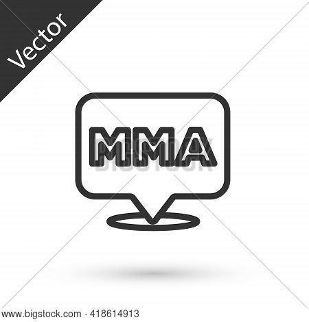 Grey Line Fight Club Mma Icon Isolated On White Background. Mixed Martial Arts. Vector