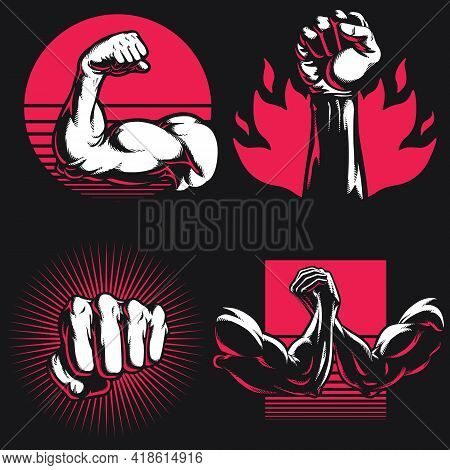 Silhouette Fitness Arm Gym Bodybuilding Hand Stencil Logo Drawing