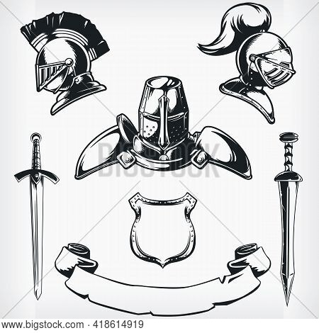 Silhouette Medieval Knight Coat Of Arm Stencil Vector Drawing