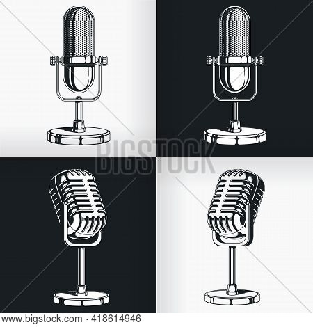 Silhouette Old Vintage Radio Microphone Retro Podcast Stencil Drawing