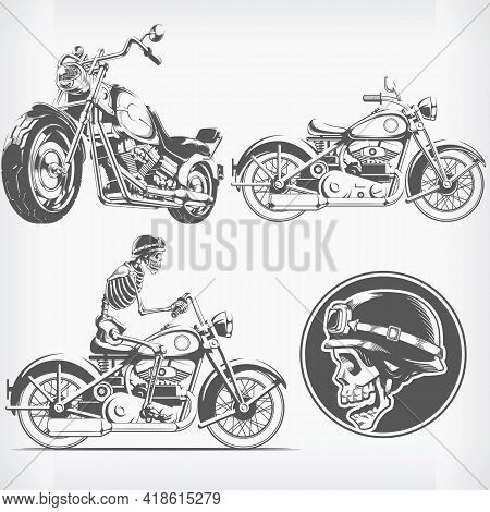 Silhouette Rider Biker Motorcycle Engraving Stencil Vector Drawing