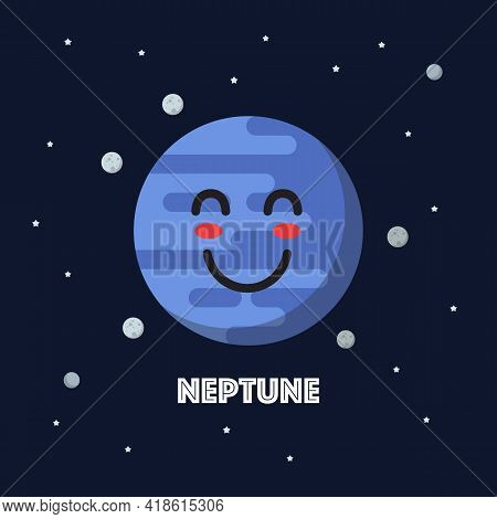 Smiling Neptune Character Emoticon. Star And Planets On Galaxy Background. Flat Style Vector Illustr