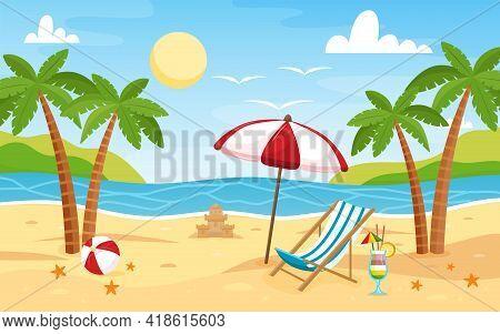 Deck Chair And Beach Umbrella On The Sand Coast. Beach Landscape. Sea Background. Colorful Summer De