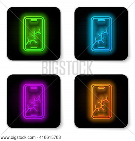 Glowing Neon Line Smartphone With Broken Screen Icon Isolated On White Background. Shattered Phone S