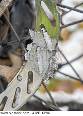 Rear Disc Of Hydraulic Disc Brake On Old Mtb. Winter Kind Of Bike Called Fatbike Used In Extreme Wea