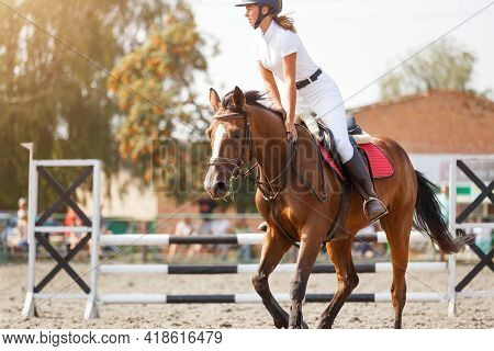 Young Girl Tapping Horse After Show Jumping Course