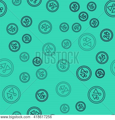 Black Line Toilet Icon Isolated Seamless Pattern On Green Background. Wc Sign. Washroom. Vector