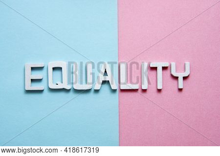 Gender Equality Concept Over Pink And Blue Background. Social Norms And Diversity Balance