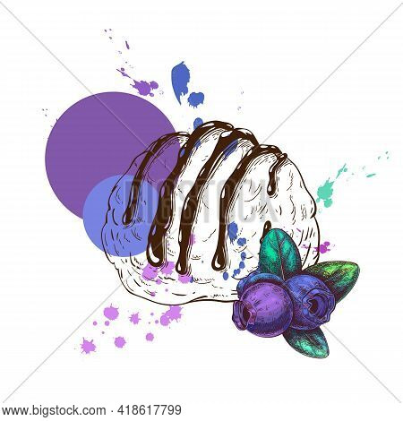 One Scoop Of Ice Cream With Blueberry Flavor. Ice Cream Label Or Logo Design Concept. Vector Sketch
