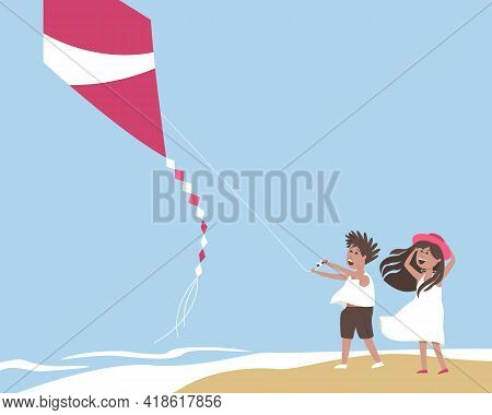 Children Fly A Kite On The Seashore. A Strong Wind Blows The Kite Into The Sky. Design For A Summer