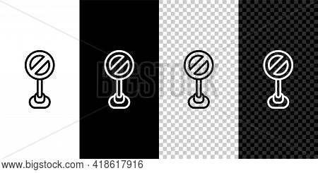Set Line Stop Sign Icon Isolated On Black And White, Transparent Background. Traffic Regulatory Warn
