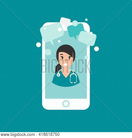 Smiling Woman Doctor On The Phone Screen. Medical Internet Consultation. Healthcare Consulting Web S