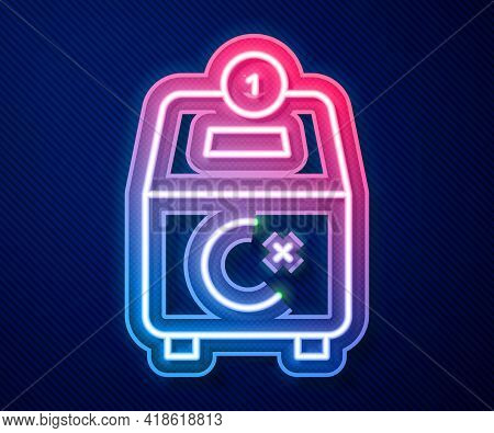 Glowing Neon Line Donate Or Pay Your Zakat As Muslim Obligatory Icon Isolated On Blue Background. Mu